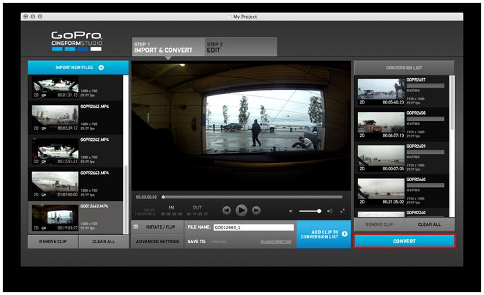 如何准备视频文件进行编辑 (Apple/Mac) 您使用 GoPro 或 DSLR 摄像机拍摄大量连续镜头后,接下来该怎么做?因为摄像机中使用的 H.264 文件格式不能用于编辑,因此,您应将文件转换为 GoPro/CineForm 文件格式。该格式是实施编辑的特定格式,可与热门的非线性编辑应用程序(iMovie、Final Cut Pro、Premiere、AVID、Vegas 等)兼容。